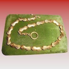 Vintage Fendi FF Logo Gold-tone Couture Gold PLated Necklace
