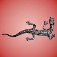 Vintage Lizard Sterling Silver Marcasite Brooch