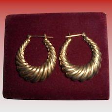Large 14K Gold Shrimp Style Pierced Hoop Earrings Solid Yellow Gold  Hoops