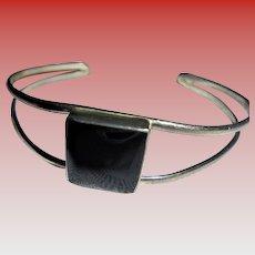 Vintage Mexico Sterling Silver & Onyx Cuff Bracelet