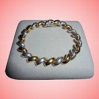 Vintage 2-Tone Milor Italy 925 Sterling Silver Link Bracelet