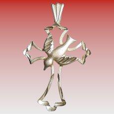 14K Gold Crucifix & Dove Pendant Intricate Detail Cross