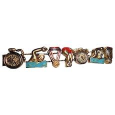 Swimming Themed Slide Vintage Charm Bracelet Competitive Swim & Diving Enamel Charms Olympics