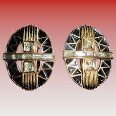 Givenchy Signed Enamel & Rhinestone Crystal Clip Earrings Vintage