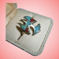 Navajo Sterling Silver Crushed Inlaid Red Coral & Turquoise Eagle Figural Ring Size 7 3/4
