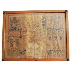 17th Century John Speed Original Antique Map Bedfordshire England