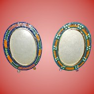 Pair Italian Micro Mosaic Millefiore Oval Frames Easel Stands Italy Frame