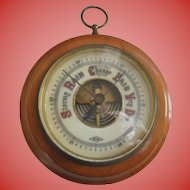 Vintage ATCO Germany Porcelain Face Wood Frame Barometer in Beautiful Condition
