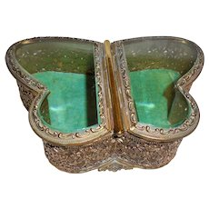 Rare Butterfly Ormolu Jewelry Casket Turquoise Velvet Double Sided  Beveled Glass Trinket Vanity Box