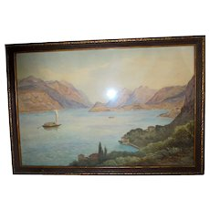 Italian Mountains Seascape c1930s Watercolor Painting in Beautiful Frame