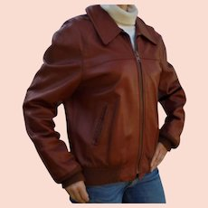 Gorgeous Vintage Flight Bomber Style Leather Jacket by Peter Caruso 1980s Size S - M