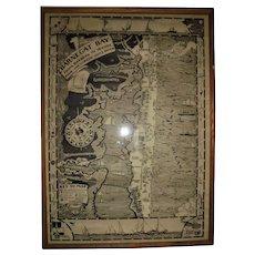 1936 Barnegat Bay / Bay Head Illustrated Map Original Harry Tower Cartographer