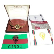 55d7bf471fa 1980s Gucci GG Logo Ladies Gold Plated Cable Wrist Watch with Orig Box  Papers   Card