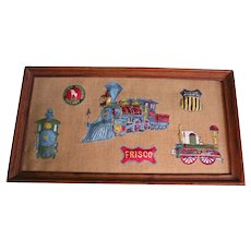 Railroad Folk Art Vintage Union Pacific Great Northern Railway Railroadiana 3D Patches Framed Plaque