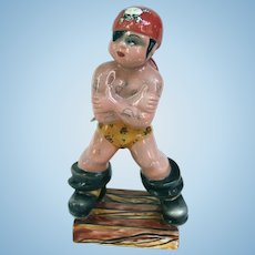 Triart Bassano Italy Tattooed Pirate Ceramic Figurine 1940s Rockabilly