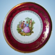 Limoges France Large Porcelaine Artistique Fragonard Courting Scene Plate Wall Hanging