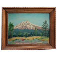 1943 Colorado Oil Painting on Masonite Pike's Peak Signed