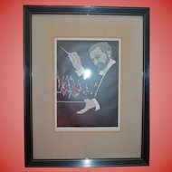 """Maestro"" Music Orchestra Conductor Woodcut Print ""The Audience"" Artist Phillip M Smith"