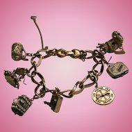 Monet Whimsical Charm Bracelet Poodle King Spinning Wheel & More