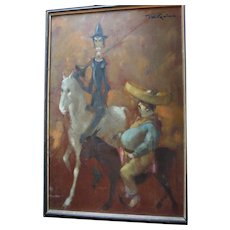 """Man of La Mancha"" British Artist Tom W. Quinn Don Quixote & Sancho Panza Impressionist Large Oil Painting Listed Artist"