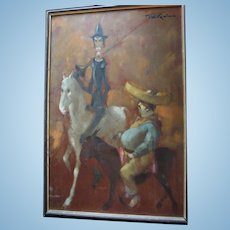 "Don Quixote & Sancho Panza ""Man of la Mancha"" Impressionist Large Oil Painting by Listed British Artist Tom W. Quinn (b1918)"