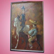 "Huge Don Quixote & Sancho Panza ""Man of la Mancha"" Impressionist Oil Painting by Listed British Artist Tom W. Quinn (b1918)"