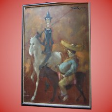 """Man of La Mancha"" British Artist Tom W. Quinn Don Quixote & Sancho Panza Impressionist Large Oil Painting Listed Artist"