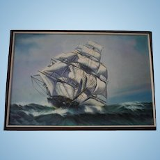 Huge Seascape Oil Painting by Edgar S Nucum (Listed 20th cent) Maritime Clipper Ship Scene