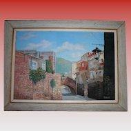 Mexico Calle Del Padre BELAUNZARAN EN GUANAJUANTO 1964 Cityscape Large Oil on Canvas Painting by C. Ruiz