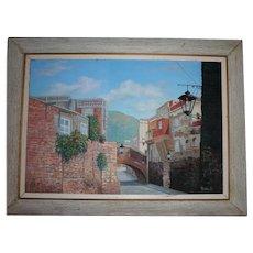 1964 Calle Del Padre BELAUNZARAN EN GUANAJUANTO Mexican Cityscape Large Oil on Canvas Painting by C. Ruiz