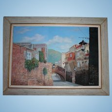 1964 Calle Del Padre BELAUNZARAN EN GUANAJUANTO Mexican Cityscape Large Oil on Canvas Painting by C. Ruiz