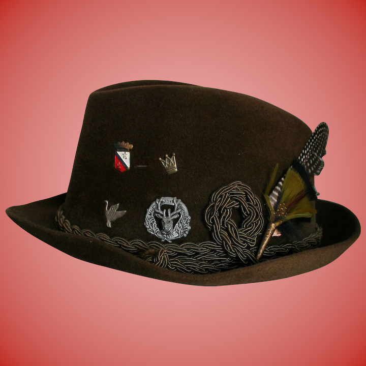 1aea7f98d Reserved for L ** Mens Vintage New Dobbs NY Fedora Sz 7 Feather & Authentic  German Medals