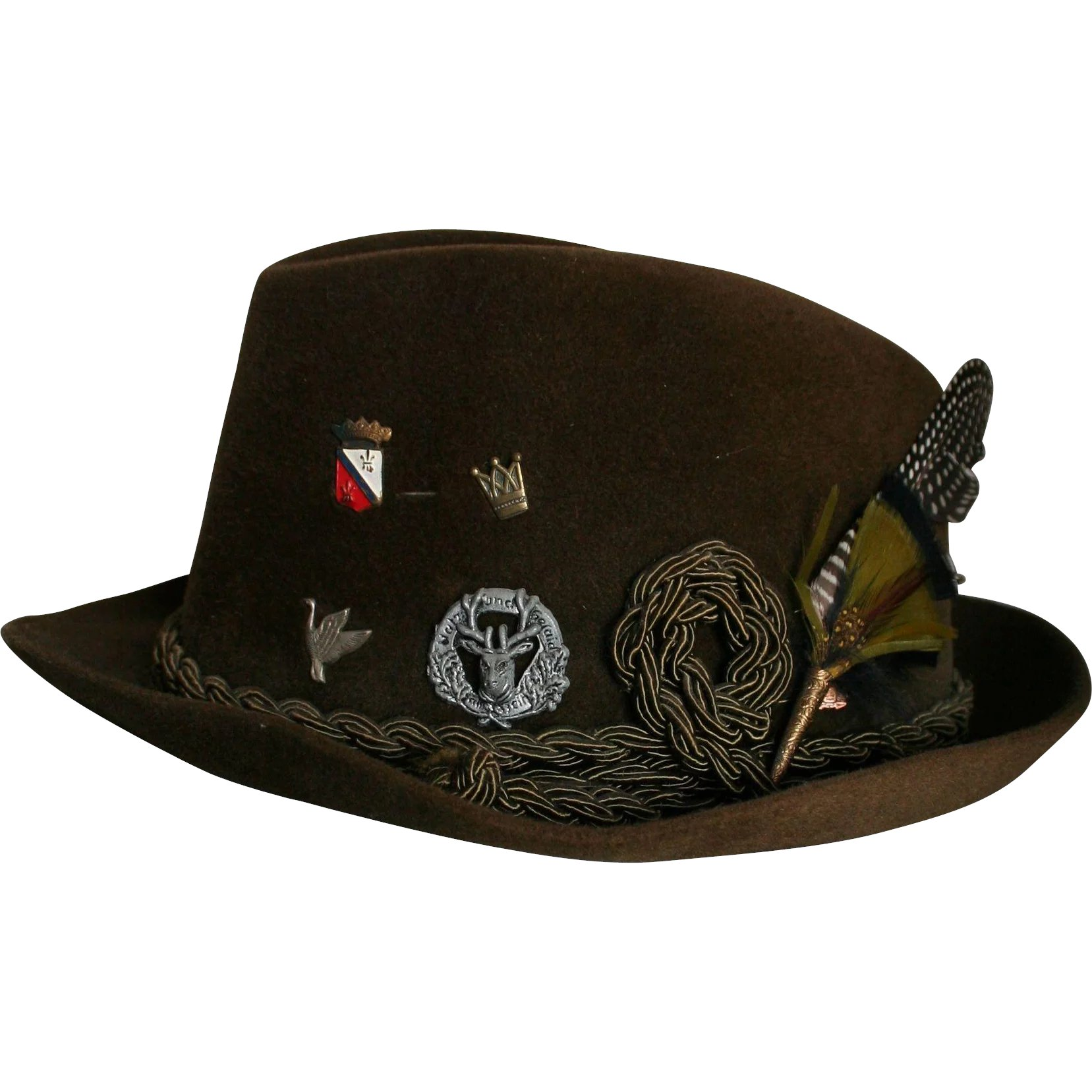 4a467093deb Reserved for L ** Mens Vintage New Dobbs NY Fedora Sz 7 Feather & : Greta's  Gallery   Ruby Lane