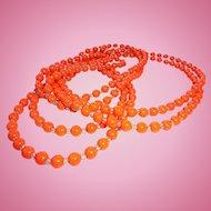 6 Ft Long Art Deco Flapper Length Orange Glass * Crystal Necklace Halloween Fall Autumn Season Color