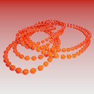 6 Ft Long Art Deco Flapper Length Orange Glass * Crystal Necklace Halloween Fall Autumn Season Color