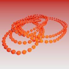 6 Ft Long Art Deco Flapper Length Orange Glass * Crystal Necklace Halloween