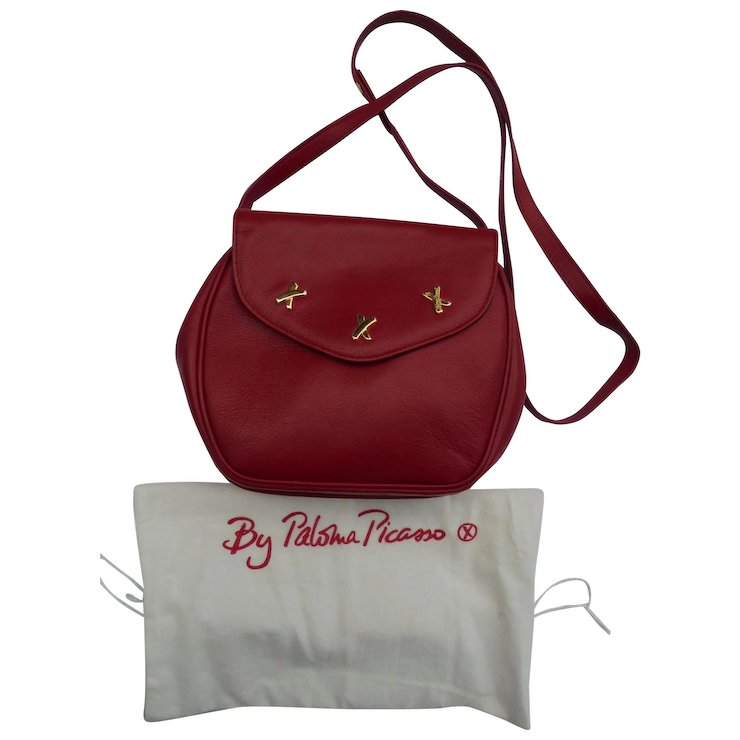 Vintage New Paloma Picasso Red Leather X Design Shoulder Bag With Dustbag