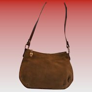 Vintage Morris Moskowitz Suede Shoulder Bag Fall Autumn Handbag Gold Hardware Gorgeous