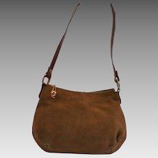 Vintage Morris Moskowitz Suede Shoulder Bag Fall Autumn Handbag Gold Hardware Gorgeous