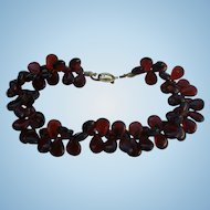Gorgeous Cluster Root Beer Amber Lucite Choker Collar Necklace with Ornate Gold Plated Toggle Clasp