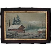 Antique 1870 American Northwest Folk Art Oil Painting