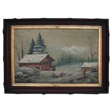 Reserved for K*** Antique 1870 American Northwest Folk Art Oil Painting