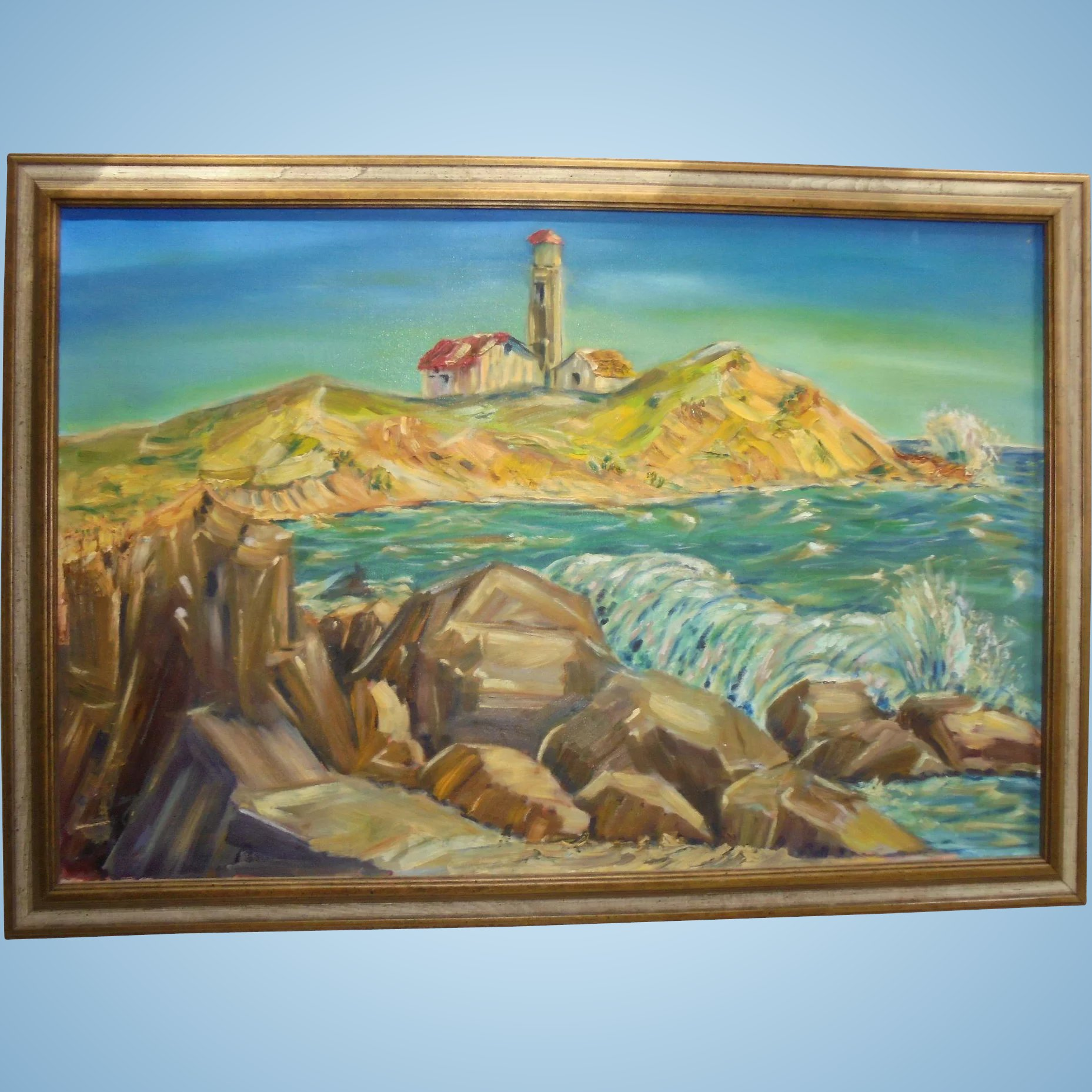 Vivid Impressionist New England Lighthouse Large Oil On