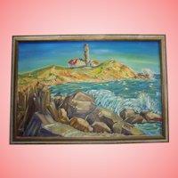 Vivid Impressionist New England Lighthouse Large Oil on Canvas Painting