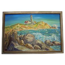 Vivid Impressionist New England Lighthouse Large Oil on Canvas Painting