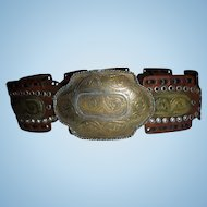 Huge Bohemian Southwest Belt Hammered MIxed Metals Sz S M