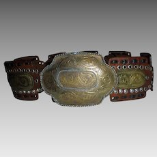 Huge Bohemian Southwest Belt Hammered MIxed Metals Sz S M