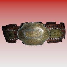Sz S M Bohemian Southwest Belt Hammered MIxed Metals