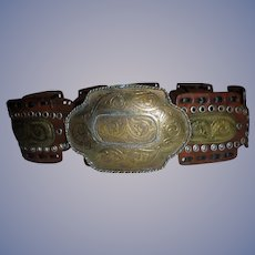 Sz S M Bohemian Southwest Belt Hammered MIxed Metals
