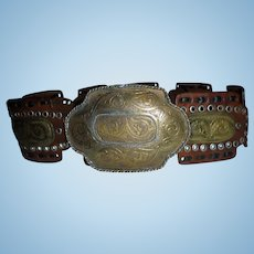 Huge Southwest Belt Hammered MIxed Metals Sz S M